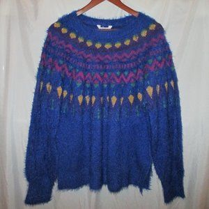 Holiday Winter Christmas Sweater BLUE - Wm XL